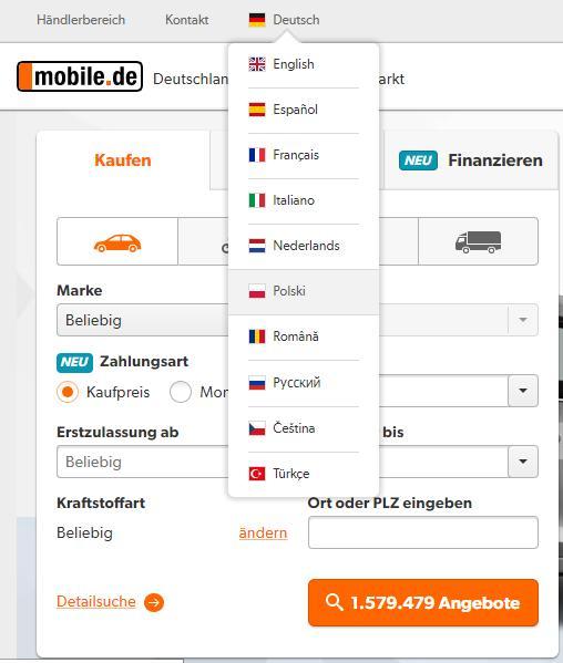 список языков на сайте мобиле де